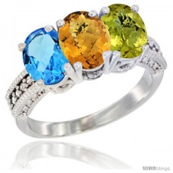14K White Gold Natural Swiss Blue Topaz, Whisky Quartz & Lemon Quartz Ring 3-Stone 7x5 mm Oval Diamond Accent