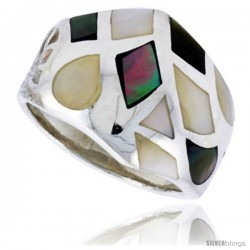 "Sterling Silver Freeform Shell Ring, w/Black & White Mother of Pearl Inlay, 3/4"" (19 mm) wide"