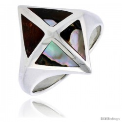 "Sterling Silver Diamond-shaped Shell Ring, w/Brown & White Mother of Pearl Inlay, 7/8"" (22 mm) wide"