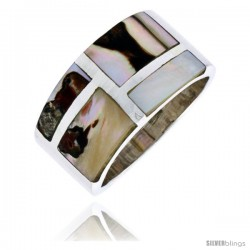 "Sterling Silver Flat Band, w/Brown & White Mother of Pearl Inlay, 1/2"" (13 mm) wide"