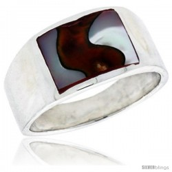 "Sterling Silver Flat Band, w/Colorful Mother of Pearl Inlay, 7/16"" (11 mm) wide"