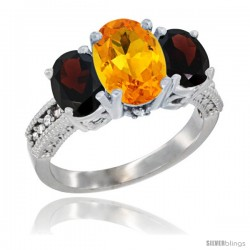 14K White Gold Ladies 3-Stone Oval Natural Citrine Ring with Garnet Sides Diamond Accent