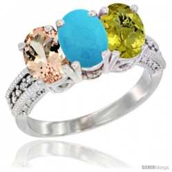 14K White Gold Natural Morganite, Turquoise & Lemon Quartz Ring 3-Stone Oval 7x5 mm Diamond Accent