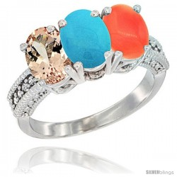 14K White Gold Natural Morganite, Turquoise & Coral Ring 3-Stone Oval 7x5 mm Diamond Accent