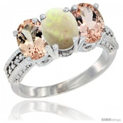 14K White Gold Natural Opal & Morganite Sides Ring 3-Stone Oval 7x5 mm Diamond Accent