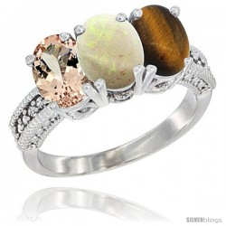 14K White Gold Natural Morganite, Opal & Tiger Eye Ring 3-Stone Oval 7x5 mm Diamond Accent