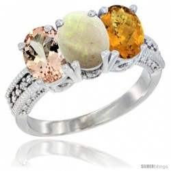 14K White Gold Natural Morganite, Opal & Whisky Quartz Ring 3-Stone Oval 7x5 mm Diamond Accent