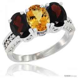 14K White Gold Natural Citrine & Garnet Sides Ring 3-Stone 7x5 mm Oval Diamond Accent
