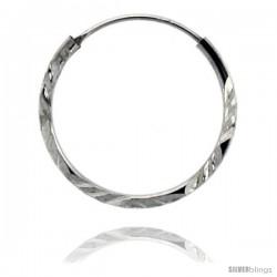 """Sterling Silver Diamond Cut Hoop Earrings, 3/4"""" Diameter"""