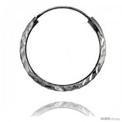 """Sterling Silver Diamond Cut Hoop Earrings, 13/16"""" Diameter"""
