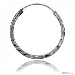 """Sterling Silver Diamond Cut Hoop Earrings, 1"""" Diameter"""