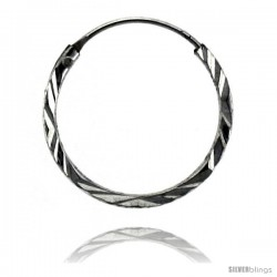 "Sterling Silver Diamond Cut Hoop Earrings, 11/16"" Diameter"