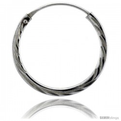 "Sterling Silver Diamond Cut Hoop Earrings, 13/16"" Diameter -Style Hed7"