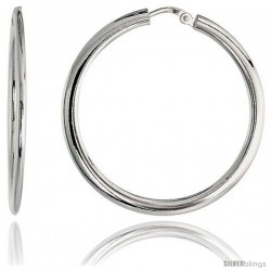 Sterling Silver Italian Flat Tube Hoop Earrings, 1 3/8 in (35 mm)
