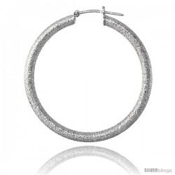 Sterling Silver Italian 3mm Tube Hoop Earrings Stardust finish, 1 1/2 in (38 mm)