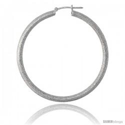 Sterling Silver Italian 3mm Tube Hoop Earrings Stardust finish, 1 7/8 in (48 mm)