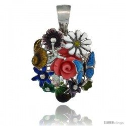 Sterling Silver Multi Color Enamel Butterfly & Flowers Pendant, 15/16 in. (24 mm) tall