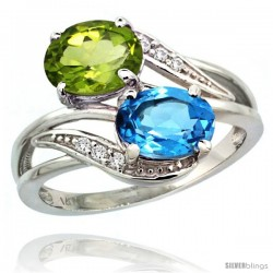 14k White Gold ( 8x6 mm ) Double Stone Engagement Swiss Blue Topaz & Peridot Ring w/ 0.07 Carat Brilliant Cut Diamonds & 2.34