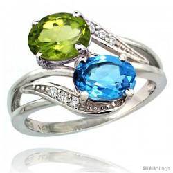14k White Gold ( 8x6 mm ) Double Stone Engagement Swiss Blue Topaz & Peridot Ring w/ 0.07 Carat Brilliant Cut Diamonds & 2.34
