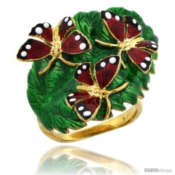 Sterling Silver Multi Color Enamel Triple Butterfly Ring, 7/8 in. (23 mm) wide