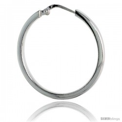 Sterling Silver Italian 2mm Square Tube Hoop Earrings, 1 1/8 in (29 mm), Half Dollar Size
