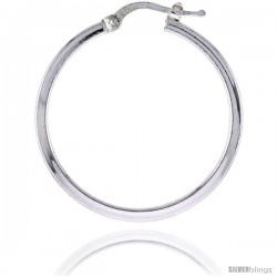 Sterling Silver Italian 2mm Square Tube Hoop Earrings, 1 1/4 in (30 mm), Half Dollar Size