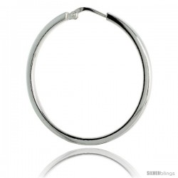 Sterling Silver Italian 2mm Square Tube Hoop Earrings, 1 3/8 in (35 mm)