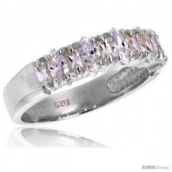 Highest Quality Sterling Silver 3/16 in (5 mm) wide Wedding Band, Marquise Cut CZ Stones