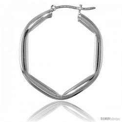 Sterling Silver Italian 3mm Tube Hexagon Italian Hoop Earrings