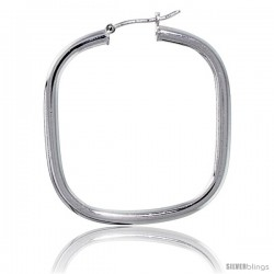 Sterling Silver Italian 3mm Tube Square-Shaped Italian Hoop Earrings