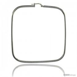Sterling Silver Italian Square Shape Hoop Earrings 2 3/8 in ( 60mm )