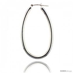 Sterling Silver Italian 3mm Tube Long Oval Italian Hoop Earrings -Style Hu5