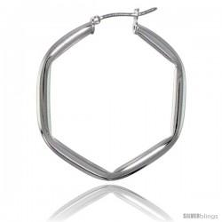 Sterling Silver Italian 3mm Tube Hexagon-shaped Italian Hoop Earrings
