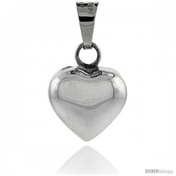 Sterling Silver 3/4 in Harmony Heart Pendant, with snake chain.