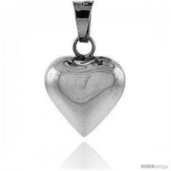 Sterling Silver 7/8 in Harmony Heart Pendant, with snake chain.