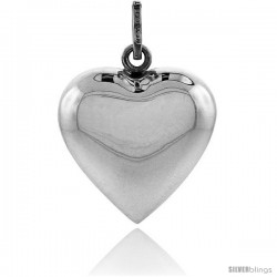 Sterling Silver 1 in Harmony Heart Pendant, with snake chain.