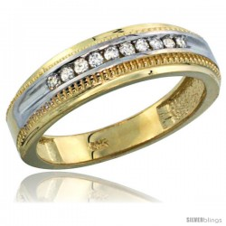10k Gold 10-Stone Milgrain Design Ladies' Diamond Ring Band w/ 0.30 Carat Brilliant Cut Diamonds, 1/4 in. (6mm) wide
