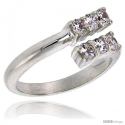 Highest Quality Sterling Silver 3/8 in (9 mm) wide Ladies' Wedding Band, Brilliant Cut CZ Stones