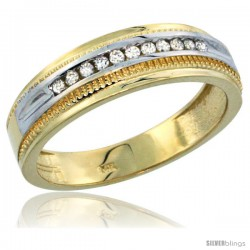 10k Gold 11-Stone Milgrain Design Men's Diamond Ring Band w/ 0.30 Carat Brilliant Cut Diamonds, 1/4 in. (6.5mm) wide