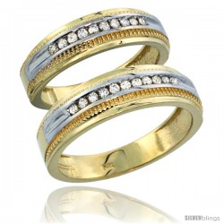 10k Gold 2-Piece His (6.5mm) & Hers (6mm) Diamond Wedding Ring Band Set w/ 0.60 Carat Brilliant Cut Diamonds