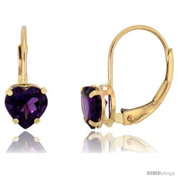 10k Yellow Gold Natural Amethyst Heart Leverback Earrings 6mm February Birthstone, 9/16 in tall