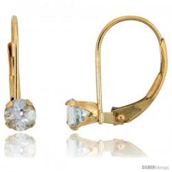 10k Yellow Gold Natural Aquamarine Leverback Earrings 4mm Brilliant Cut March Birthstone, 9/16 in tall