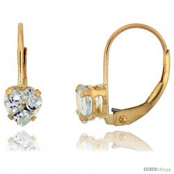 10k Yellow Gold Natural Aquamarine Leverback Heart Earrings 5mm March Birthstone, 9/16 in tall