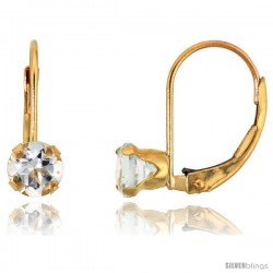 10k Yellow Gold Natural Aquamarine Leverback Earrings 5mm Brilliant Cut March Birthstone, 9/16 in tall