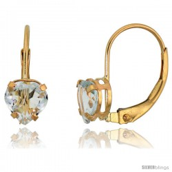 10k Yellow Gold Natural Aquamarine Leverback Heart Earrings 6mm March Birthstone, 9/16 in tall