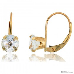 10k Yellow Gold Natural Aquamarine Leverback Earrings 6mm Brilliant Cut March Birthstone, 9/16 in tall