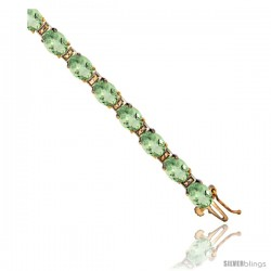 10K Yellow Gold Natural Green Amethyst Oval Tennis Bracelet 5x7 mm stones, 7 in