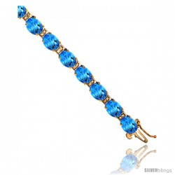 10K Yellow Gold Natural Swiss Blue Topaz Oval Tennis Bracelet 5x7 mm stones, 7 in