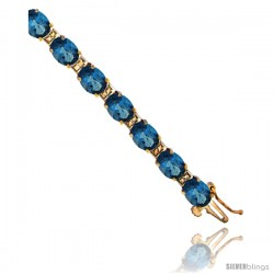 10K Yellow Gold Natural London Blue Topaz Oval Tennis Bracelet 5x7 mm stones, 7 in