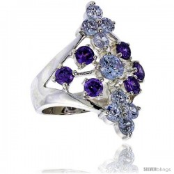 Highest Quality Sterling Silver 1 1/8 in (28 mm) wide Ladies' Diamond-shaped Right Hand Ring, Brilliant Cut Alexandrite